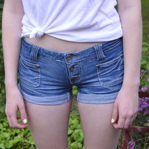 Massimo Button Up Low Rise Jean Shorts